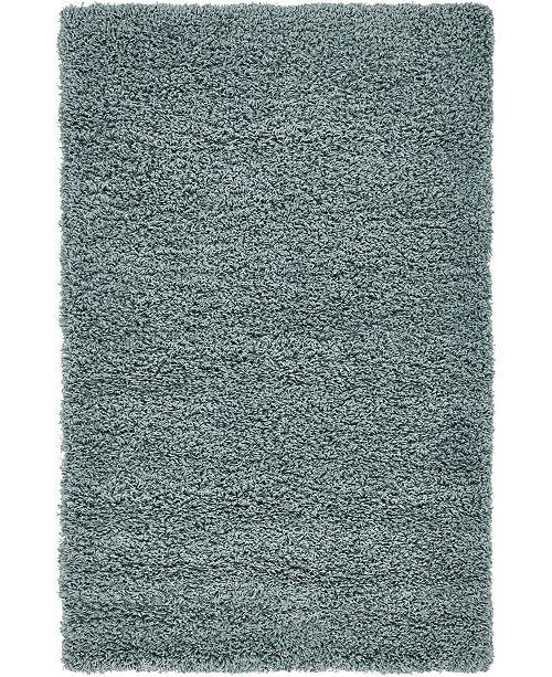 "Bridgeport Home Exact Shag Exs1 Light Slate Blue 3' 3"" x 5' 3"" Area Rug"