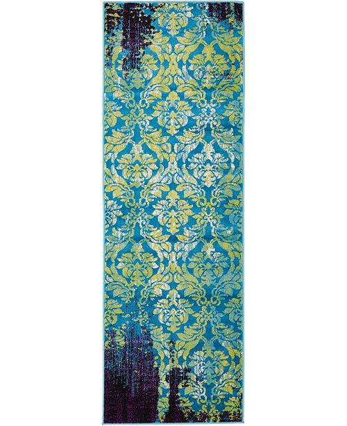 Bridgeport Home Linport Lin2 Blue 2' x 6' Runner Area Rug