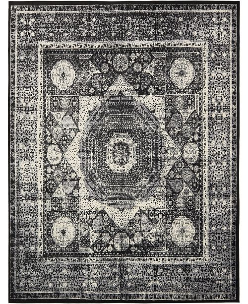 Bridgeport Home Linport Lin7 Black 10' x 13' Area Rug