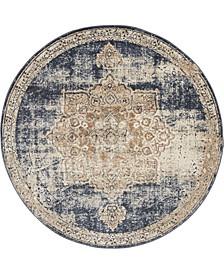 Odette Ode1 Dark Blue 4' x 4' Round Area Rug