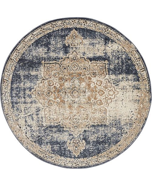 Bridgeport Home Odette Ode1 Dark Blue 4' x 4' Round Area Rug