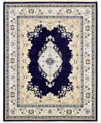 Zara Zar1 Navy Blue 8' x 10' Area Rug