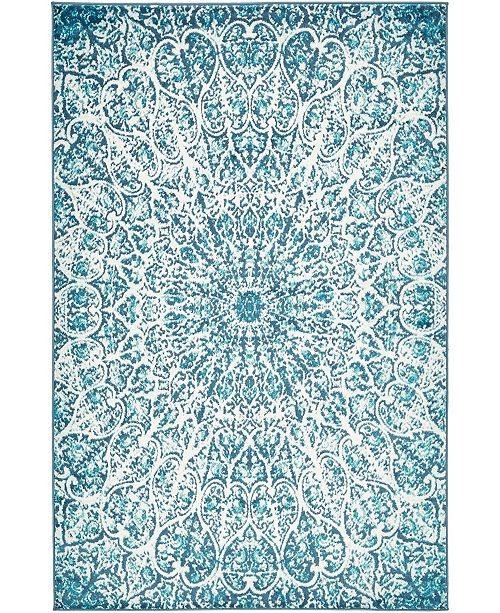 Bridgeport Home Basha Bas4 Turquoise 5' x 8' Area Rug