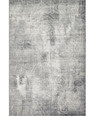 Basha Bas6 Dark Gray 5' x 8' Area Rug