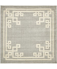 Anzu Anz3 Gray 8' x 8' Square Area Rug