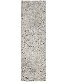 "Malloway Shag Mal1 Gray 2' x 6' 7"" Runner Area Rug"