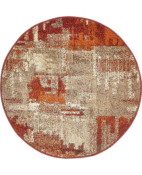 "Bridgeport Home Jasia Jas06 Multi 3' 3"" x 3' 3"" Round Area Rug"