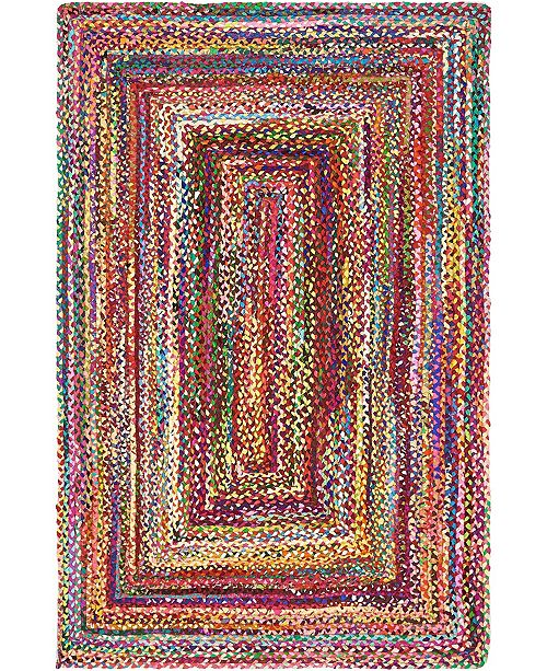 Bridgeport Home Roari Cotton Braids Rcb1 Multi 5' x 8' Area Rug