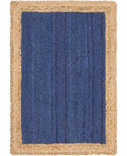 Bridgeport Home Braided Jute A Bja4 Navy Blue 2' x 3' Area Rug