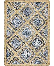 Bridgeport Home Braided Square Bsq6 Blue 2' x 3' Area Rug