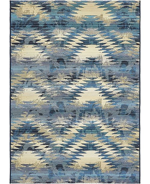 Bridgeport Home Pashio Pas2 Blue 4' x 6' Area Rug