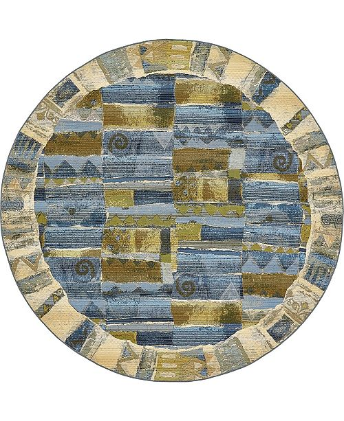Bridgeport Home Pashio Pas1 Blue 8' x 8' Round Area Rug
