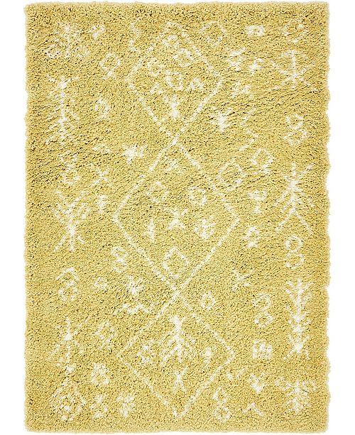 Bridgeport Home Fazil Shag Faz1 Yellow 4' x 6' Area Rug