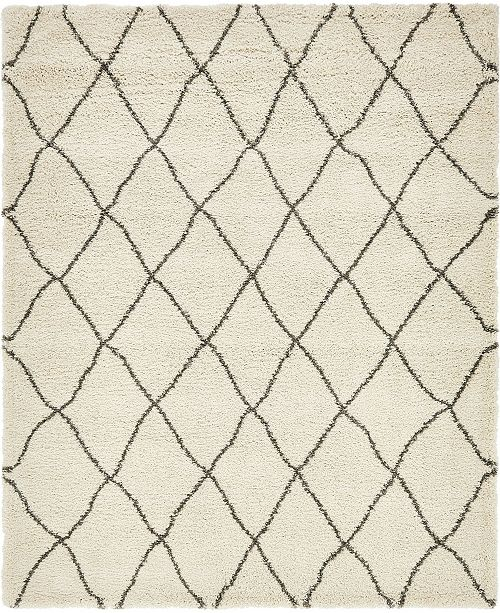 Bridgeport Home Fazil Shag Faz3 Ivory 8' x 10' Area Rug