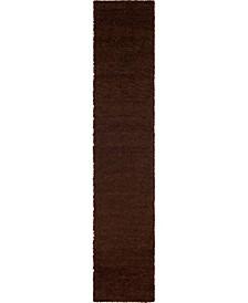 "Exact Shag Exs1 Chocolate Brown 2' 6"" x 13' Runner Area Rug"