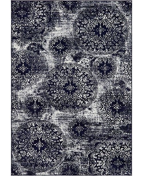Bridgeport Home Basha Bas7 Navy Blue 6' x 9' Area Rug