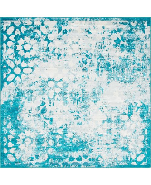 Bridgeport Home Basha Bas5 Turquoise 8' x 8' Square Area Rug
