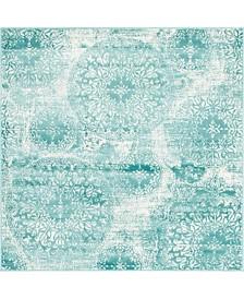 Bridgeport Home Basha Bas7 Turquoise 6' x 6' Square Area Rug