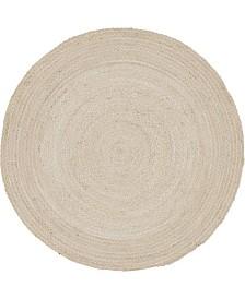 Bridgeport Home Roari Cotton Braids Rcb1 Ivory 8' x 8' Round Area Rug