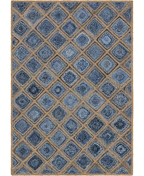 Bridgeport Home Braided Square Bsq6 Blue 6' x 9' Area Rug