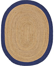 Bridgeport Home Braided Jute A Bja4 Natural 8' x 10' Oval Area Rug