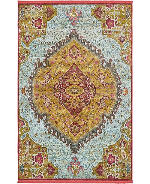 "Bridgeport Home Kenna Ken1 Gold 5' 5"" x 8' Area Rug"