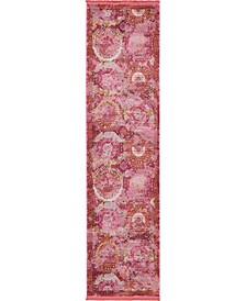 "Kenna Ken4 Pink 2' 7"" x 10' Runner Area Rug"
