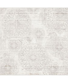 Bridgeport Home Basha Bas7 Light Gray 6' x 6' Square Area Rug