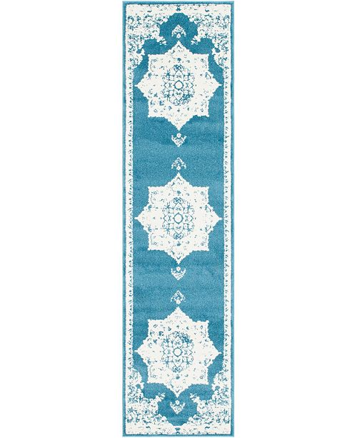 "Bridgeport Home Mishti Mis6 Blue 2' 7"" x 10' Runner Area Rug"
