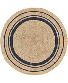 "Bridgeport Home Braided Border Brb1 Natural/Navy 3' 3"" x 3' 3"" Round Area Rug"