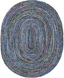 Roari Braided Chindi Rbc1 Blue/Multi 8' x 10' Oval Area Rug