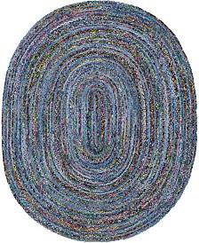 Bridgeport Home Roari Braided Chindi Rbc1 Blue/Multi 8' x 10' Oval Area Rug