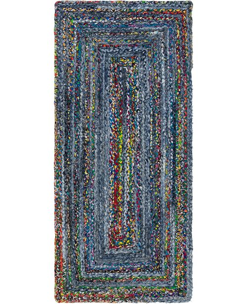 "Bridgeport Home Roari Braided Chindi Rbc1 Blue/Multi 2' 6"" x 6' 1"" Runner Area Rug"