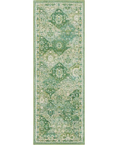 "Bridgeport Home Lorem Lor2 Green 2' 2"" x 6' Runner Area Rug"