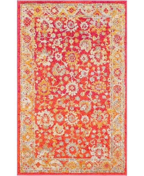 "Bridgeport Home Lorem Lor3 Red 3' 3"" x 5' 3"" Area Rug"