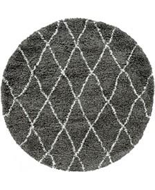 Fazil Shag Faz2 Gray 5' x 5' Round Area Rug