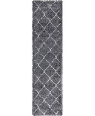 "Fazil Shag Faz5 Gray 2' 7"" x 10' Runner Area Rug"