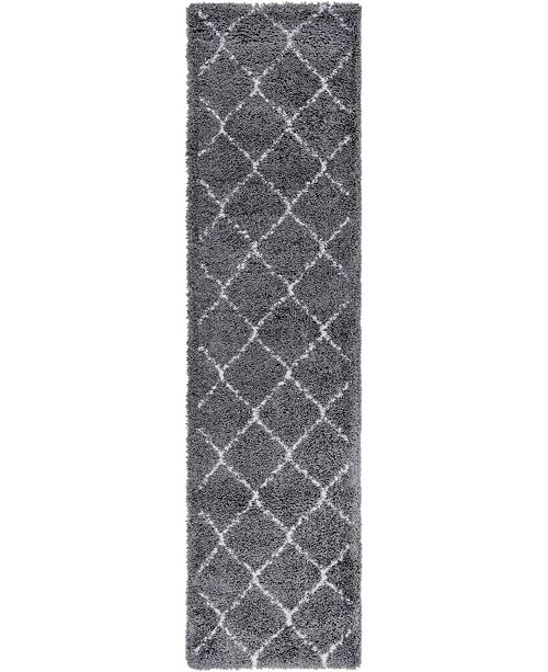 "Bridgeport Home Fazil Shag Faz5 Gray 2' 7"" x 10' Runner Area Rug"