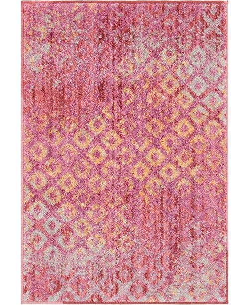 "Bridgeport Home Prizem Shag Prz2 Pink 2' 2"" x 3' Area Rug"