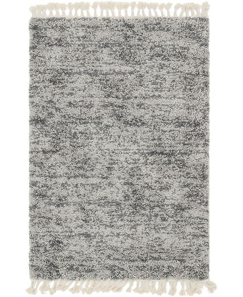 Bridgeport Home Lochcort Shag Loc3 Gray 4' x 6' Area Rug