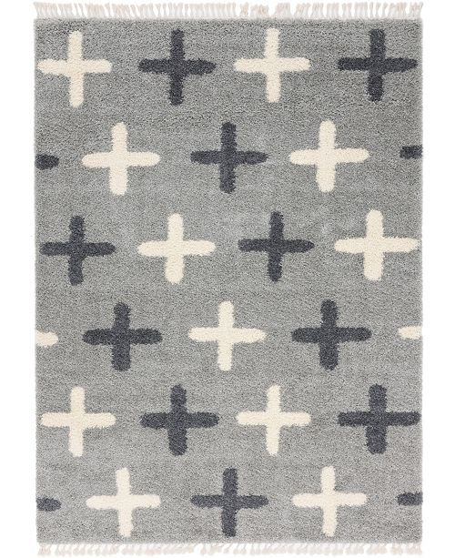 Bridgeport Home Lochcort Shag Loc7 Light Gray 9' x 12' Area Rug