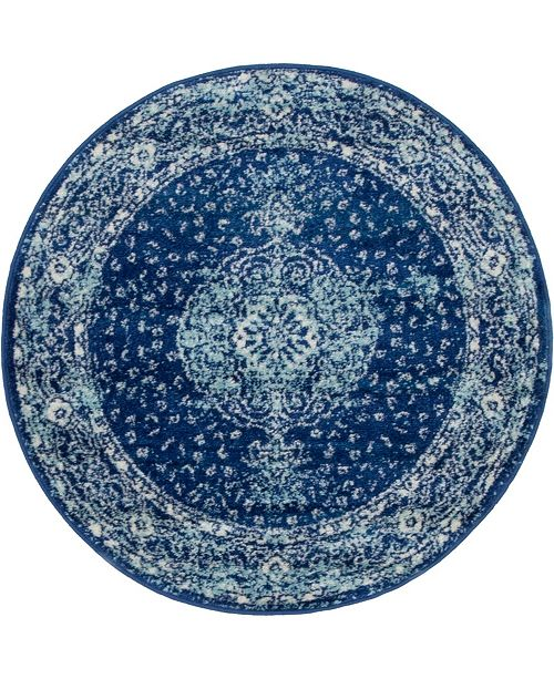 Bridgeport Home Mobley Mob1 Navy Blue 3' x 3' Round Area Rug