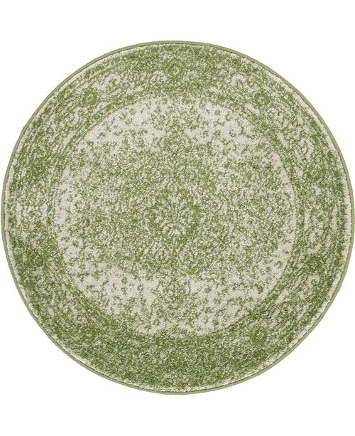 Bridgeport Home Mobley Mob1 Green 3' x 3' Round Area Rug