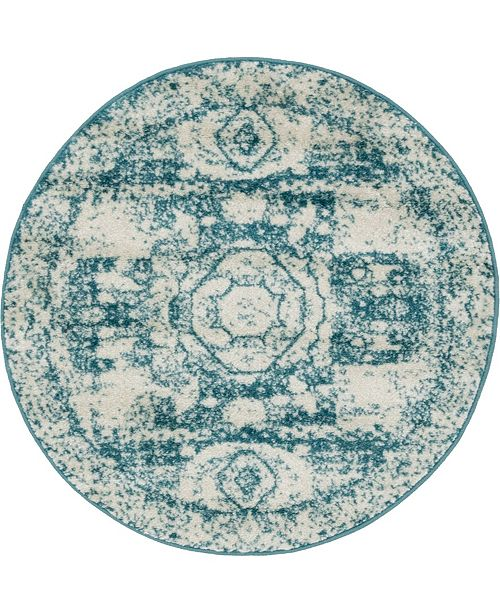 Bridgeport Home Mobley Mob2 Turquoise 3' x 3' Round Area Rug