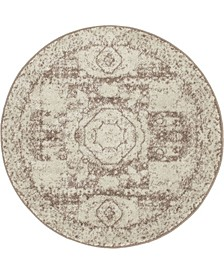 Mobley Mob2 Light Brown 3' x 3' Round Area Rug