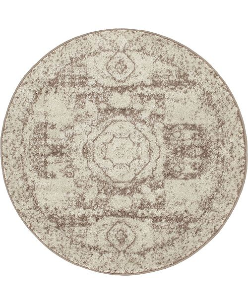Bridgeport Home Mobley Mob2 Light Brown 3' x 3' Round Area Rug