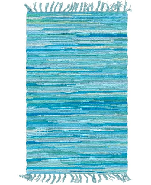 "Bridgeport Home Jari Striped Jar1 Turquoise 2' 2"" x 3' Area Rug"