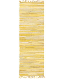"Jari Striped Jar1 Yellow 2' 7"" x 6' 7"" Runner Area Rug"