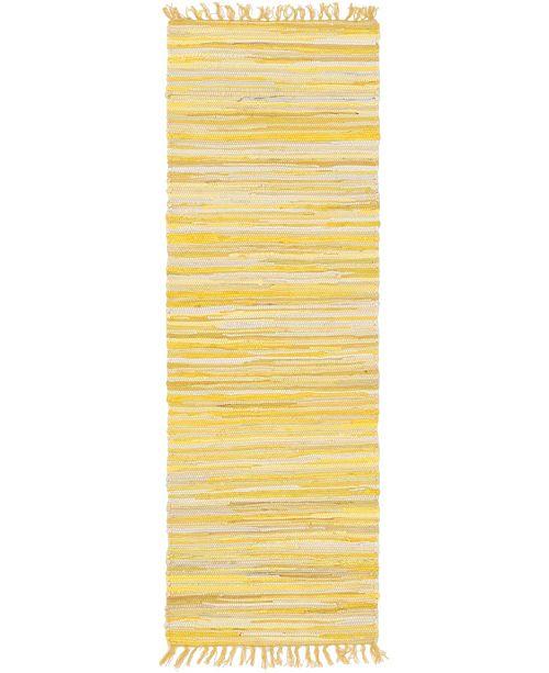 "Bridgeport Home Jari Striped Jar1 Yellow 2' 7"" x 6' 7"" Runner Area Rug"