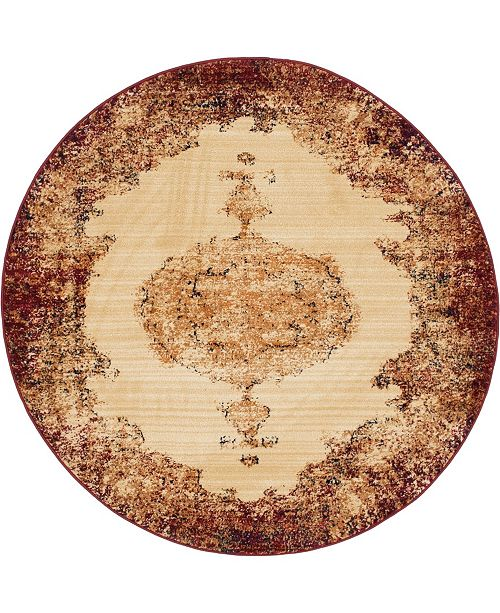 """Bridgeport Home Thule Thu2 Red 4' 5"""" x 4' 5"""" Round Area Rug"""